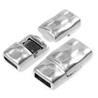 5mm Hammered Flat Leather Cord Magnetic Clasp - Antique Silver