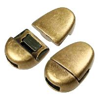 5mm Oval Flat Leather Cord Magnetic Clasp - Antique Brass