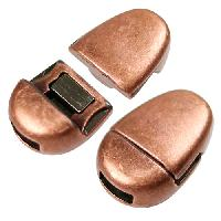 5mm Oval Flat Leather Cord Magnetic Clasp - Antique Copper