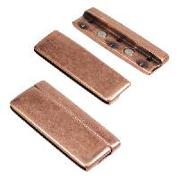 50mm Rounded Flat Leather Cord Magnetic Clasp - Antique Copper