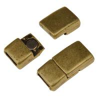 5mm Rectangle Flat Leather Cord Magnetic Clasp - Antique Brass