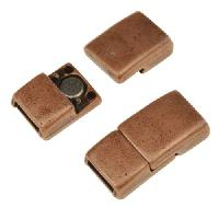 5mm Rectangle Flat Leather Cord Magnetic Clasp - Antique Copper