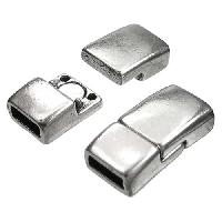 5mm Rectangle Flat Leather Cord Magnetic Clasp - Antique Silver