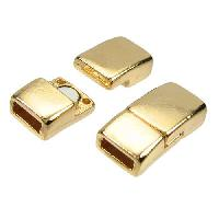 5mm Rectangle Flat Leather Cord Magnetic Clasp - Gold Plated