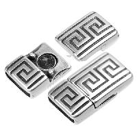 10mm BOLD Meander Flat Leather Cord Magnetic Clasp - Antique Silver