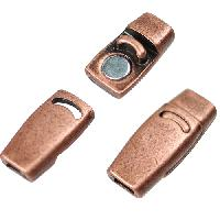 3mm Plain Flat Leather Cord Magnetic Clasp - Antique Copper