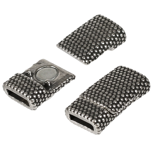 8mm Dots Flat Leather Cord Magnetic Clasp Antique Silver