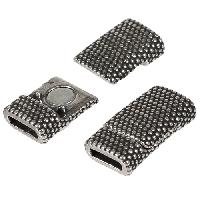 8mm Dots Flat Leather Cord Magnetic Clasp - Antique Silver