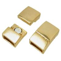 10mm Rectangle Flat Leather Cord Magnetic Clasp - Gold Plated