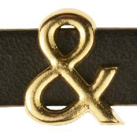 10mm & (Ampersand) Symbol Flat Leather Cord Slider - Gold Plated