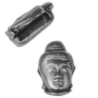 10mm Buddha Head Flat Leather Cord Slider - Antique Silver
