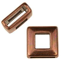 10mm Square Frame Flat Leather Cord Slider per 10 pieces - Antique Copper
