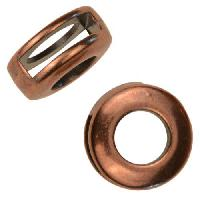 10mm Round Frame Flat Leather Cord Slider - Antique Copper