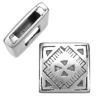 10mm Western Square Flat Leather Cord Slider - Antique Silver