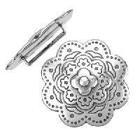 20mm Bali Flower Flat Leather Cord Slider - Antique Silver