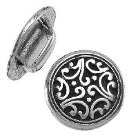 10mm Tibetan Floral Flat Leather Cord Slider per 10 pieces - Antique Silver