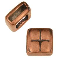 10mm Square Pillow Flat Leather Cord Slider - Antique Copper