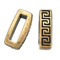 10mm Meander Flat Leather Cord Slider per 10 pieces - Antique Brass