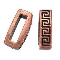 10mm Meander Flat Leather Cord Slider per 10 pieces - Antique Copper