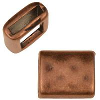 10mm Hammered Rectangle Flat Leather Cord Slider - Antique Copper