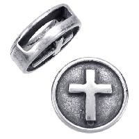 10mm Embossed Cross Flat Leather Cord Slider - Antique Silver