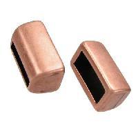 10mm Loop Bar Flat Leather Cord Slider per 10 pieces - Antique Copper