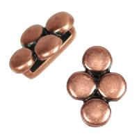 10mm Four Disc Flat Leather Cord Slider - Antique Copper