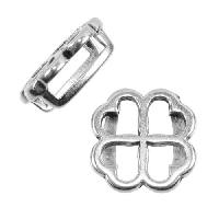 10mm Clover Flat Leather Cord Slider - Antique Silver