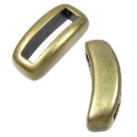 10mm Crescent Flat Leather Cord Slider per 10 pieces - Antique Brass