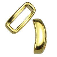 10mm Crescent Flat Leather Cord Slider - Gold Plated