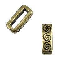 10mm Wave Flat Leather Cord Slider per 10 pieces - Antique Brass
