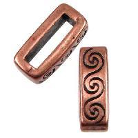 10mm Wave Flat Leather Cord Slider per 10 pieces - Antique Copper