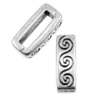 10mm Wave Flat Leather Cord Slider - Antique Silver
