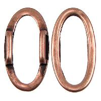 10mm Oval Ring Flat Leather Cord Slider - Antique Copper