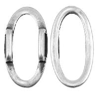 10mm Oval Ring Flat Leather Cord Slider - Antique Silver