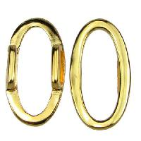 10mm Oval Ring Flat Leather Cord Slider - Gold Plated