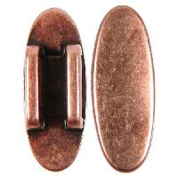 10mm Oval Disc Flat Leather Cord Slider - Antique Copper