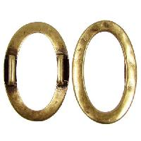 10mm Hammered Oval Ring Flat Leather Cord Slider - Antique Brass
