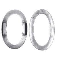10mm Hammered Oval Ring Flat Leather Cord Slider - Antique Silver
