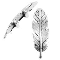 10mm Large Feather Flat Leather Cord Slider - Antique Silver