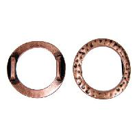 10mm Hammered Ring Flat Leather Cord Slider - Antique Copper