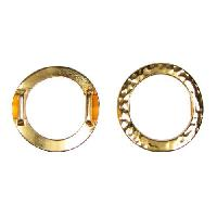 10mm Hammered Ring Flat Leather Cord Slider - Gold Plated