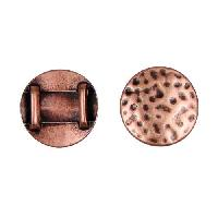 10mm Hammered Circle Flat Leather Cord Slider - Antique Copper