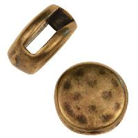 10mm Hammered Round Flat Leather Cord Slider - Antique Brass