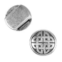 10mm Round Celtic Knot Flat Leather Cord Slider - Antique Silver