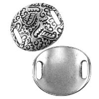 10mm Paisley Disc Flat Leather Cord Slider - Antique Silver