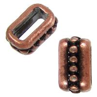 5mm Small Dots Flat Leather Cord Slider per 10 pieces - Antique Copper