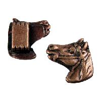 10mm Horse Head Flat Leather Cord Slider - Antique Copper