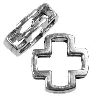 10mm Open Cross Flat Leather Cord Slider - Antique Silver