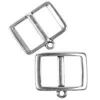 10mm Charm Holder Frame Flat Leather Cord Slider - Antique Silver
